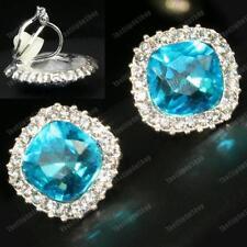 Crystal Clip En Pendientes De Topacio Azul Pálido Facetado cristal de Estrás Plateado Brillante