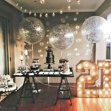 Silver Confetti Balloons 3 ft giant round large clear engaged wedding bride