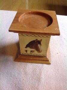 The Avalon Collection #11368 -Horse Wooden Block 4x4 Pillar Square Candle Holder