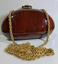 Mid Century RODO Faux Wood Grain Lucite handbag clutch