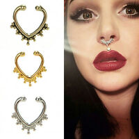 Fake Septum Nose Rings Faux Piercing Nose Studs Nose Hoop Ring Body Jewelry YL