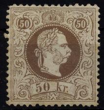 1867 50kr, braun, feiner Druck, Lz12, UNGEBRAUCHT! Mit Gummi und Falzspur.Sig.