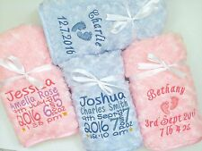 Personalised Baby Blanket Luxury Embroidered Soft Fluffy Blue Pink Boy Girl Gift