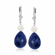 20.00 ct. t.w. Sapphire and Cultured Pearl Drop Earrings in Sterling Silver