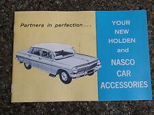 1962 HOLDEN EJ ACCESSORIES  BROCHURE   NASCO.  100% GUARANTEE.