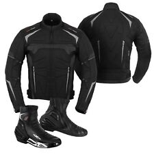 Motorbike Genuine Leather Boot Motorcycle Racing Clothing Jacket Coat - Black