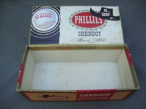 Vintage 1960s Cigar Box 3-D Plastic Baseball PHILLIES Cheroot Sports Tip cowboy