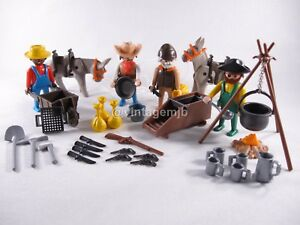 PLAYMOBIL VINTAGE 3747 GOLD HUNTERS PANNERS DONKEYS - 100% COMPLETE - EXCEL COND