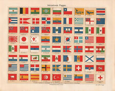1909. STATE FLAGS OF DIFFERENT WORLD COUNTRIES. Antique litography