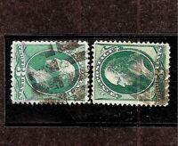 """US 1800s FANCY CANCELS ~ TWO  DIFFERENT """"LEAF""""  DESIGNS"""