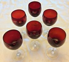 NOBLE EXCELLENCE HTF LOT OF 6 WINE GLASSES RED BOWLS CLEAR STEMS FOR HOLIDAYS