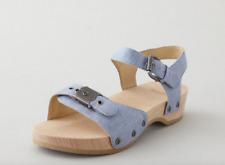 STEVEN ALAN x DR. SCHOLL'S Sz 38 Chambray Wooden Ankle Strap Sandals LTD EDITION