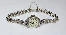 Vintage HAMILTON Ladies' 14K White Gold Wristwatch 14K Band w/ 14 Diamond Jewels