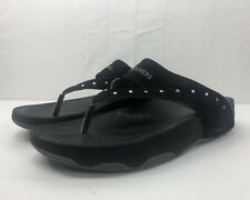 Skechers Tone Ups Womens Size 10  Black Studded Flip Flops Fitness Sandals Thong