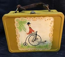 Vintage Antique Metal Thermos Brand Lunchbox Yellow Stickers Leather Handle