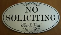"""NO SOLICITING Sign 5""""x 3"""" Oval_Indoor/Outdoor_Home or Business_Laser Engraved"""