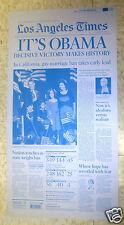 ☆OBAMA 2008 Victory Election Los Angeles LA Times Newspaper Printing Plate PRESS