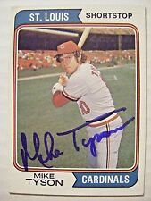 MIKE TYSON signed CARDINALS 1974 Topps baseball card AUTO Autographed CUBS #655