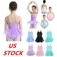 US Kids Girls Dance Ballet Leotard Dress Gymnastics Tutu Skirt Skating Dancewear