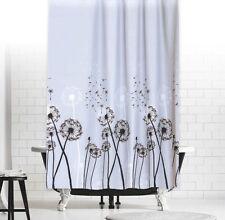 Cortina de ducha tela DIENTE LEÓN 180x200 cm Gris Negro Blanco Flores 180