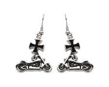 Woman's Stainless Steel Silver Iron Cross Motorcycle Earrings  Biker USA Seller!