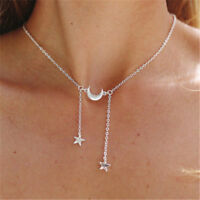 Women Simple Necklace Jewelry Long Pendant Gold/Silver Moon Star Choker Chain S
