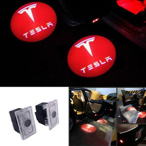 New 2x Car LED Door Ghost Logo Projector Puddle Lights HD For Tesla Model S X 3