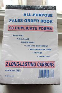 10 Sales Order Receipt Carbonless Invoice Form Book Wholesale 50 Duplicate Sheet