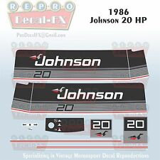 1986 Johnson 20 HP Sea-Horse Outboard Reproduction 11 Piece Marine Vinyl Decals
