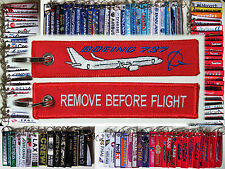 Keyring BOEING 737 in red Remove Before Flight keychain for Pilot Crew