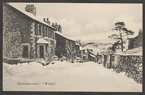 Postcard Ravenstonedale nr Brough Cumbria view of Winter snow street scene early