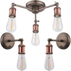 3 Lamp Ceiling Pendant & 2x Matching Wall Light Pack – Tarnished Aged Copper Kit