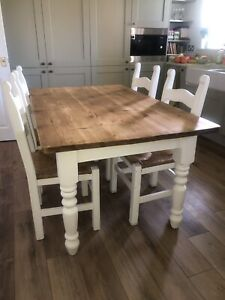 PINE FARMHOUSE KITCHEN TABLE FOUR CHAIRS SOLID GOOD CONDITION