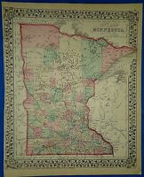 Vintage 1878 MAP ~ MINNESOTA Old Antique Original Atlas Map