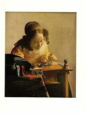 """1981 Vintage VERMEER """"THE LACEMAKER"""" GORGEOUS SEWING COLOR offset Lithograph"""