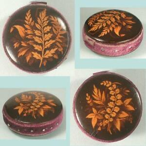 Antique Mauchline Fern Ware Pin Cushion * Scottish * Circa 1880
