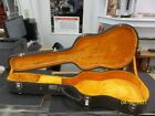 Vintage VERY COOL no name acoustic Guitar case with yellow  interior HEAVY DUTY for sale
