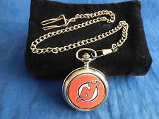 JERSEY RED DEVILS ICE HOCKEY NHL CHROME POCKET WATCH WITH CHAIN (NEW)