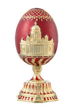 Russian Faberge Egg Saint Isaac's Cathedral, Saint-Petersburg 4.7'' (12cm) red
