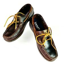 Timberland EarthKeepers Brown Leather Boat Loafers Big Eye Lace Mens Sz 10 Shoes