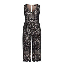 CITY CHIC Womens Lace Covet Jumpsuit Size M 18 Black Floral Lace Sleeveless BNWT