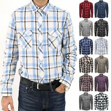 Mens Flannel Shirt Casual Smart Work Double Pocket Plain Thick Long Sleeve