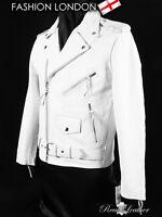 BRANDO Blanc Homme Motard Moto Motard Cruiser Veste En Cuir De Vachette MBF