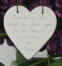 East of India Mini Wooden Heart on Wire Hanger Friends Are Like Angels