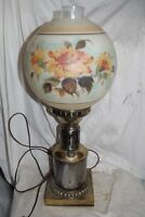 Antique Vintage Gone with the Wind GWTW Converted Parlor Lamp Floral & Brass
