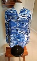 Womens Chicos Sz 1 (M) Blue Multi Semi-Sheer Blouse Button  Front Long Sleeve