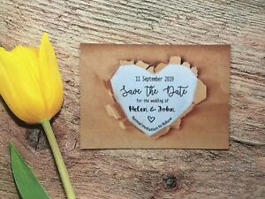 Personalised Wedding Save The Date Cards Magnet Envelopes Diamante Craft FWK601