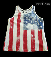 NWT RALPH LAUREN Girls Red/Blue/Off-White Patriotic Sleeveless Top(Size 4/4T)NEW