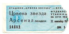 Ticket Red Star Belgrade v. Arsenal 22/11/1978 UEFA Cup