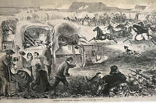Theo Davis PILGRIMS on PLAINS Horses and Wagon Train 1869 Antique Print Matted